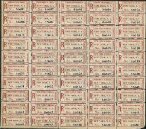 Full sheet of the most common type of New York exchange labels.Full sheet of the most common type of New York exchange labels.